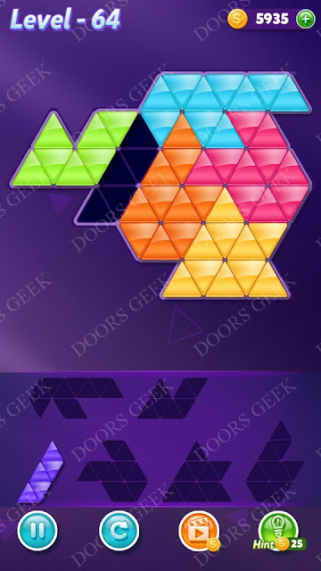 Block! Triangle Puzzle Intermediate Level 64 Solution, Cheats, Walkthrough for Android, iPhone, iPad and iPod
