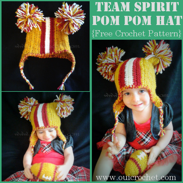 This fun crochet pom pom hat is a fun way for you and your kids to show your team spirit this football season. #OuiCrochet