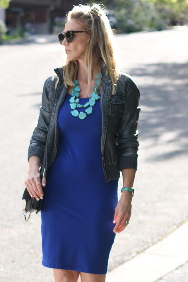 date night dress with bomber jacket