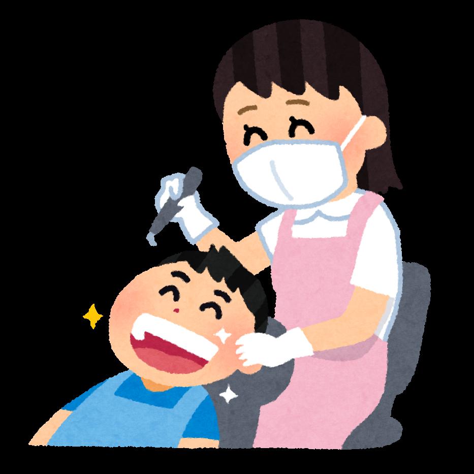 歯のクリーニングのイラスト「歯科衛生士さんと子供」   かわいいフリー素材集 いらすとや