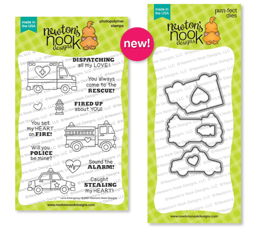 Love Emergency Stamp Set and Die Set by Newton's Nook Designs #newtonsnook