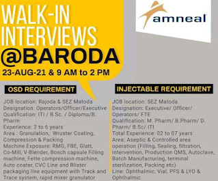 Amneal Pharma Recruitment 2021  ITI/ B.Sc. / Diploma/ B. Pharm/ M. Pharm/ D. Pharm   Walk-in Interview Vadodara