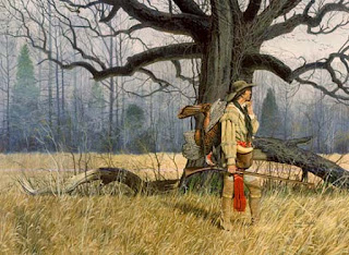 a hunter by an oak tree, with a turkey over his shoulder
