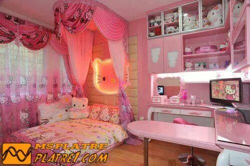 Chambre a coucher pour les jeune fille en platre for Decoration jebes