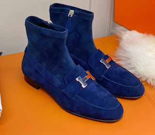 HERMES SAINT HONORE ANKLE BOOTS IN SUEDE GOATSKIN