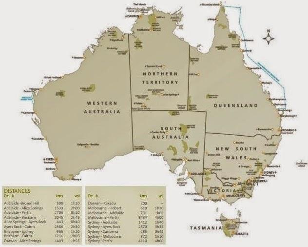 карта Австралии с расстояниями между городами