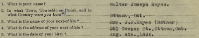 """Library and Archives Canada, """"Personnel Records of the First World War,"""" database, Library and Archives Canada (www.bac-lac.gc.ca : accessed 29 Jun 2019), Attestation Paper; citing the service file for Walter Joseph Hayes, regimental number 177799, RG 150, Accession 1992-93/166, Box 4188 - 51."""