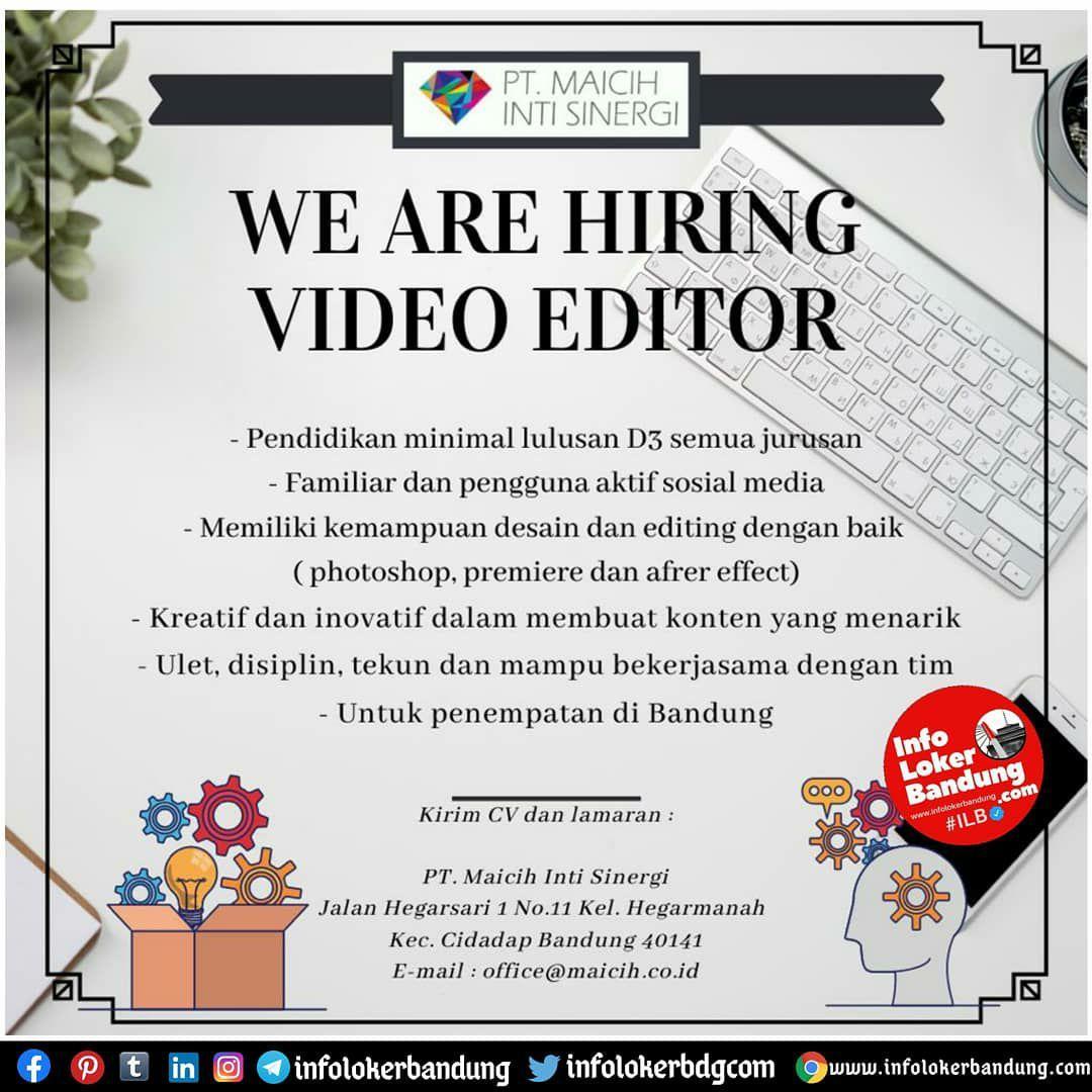 Lowongan Kerja Video Creator PT. Maicih Inti Sinergi Bandung Oktober 2020