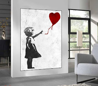 Banksy Red Balloon Girl Graffiti Wall Art