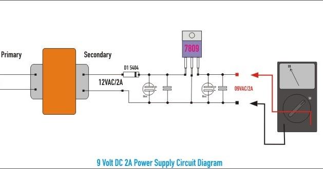 Schematic: 9 Volt DC 2A Power Supply Wiring diagram Schematic