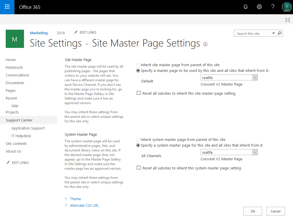 sharepoint online change master page powershell