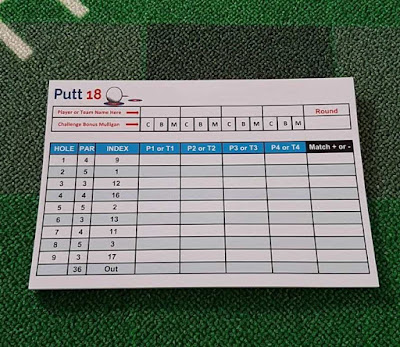 Official Putt18 scorecards