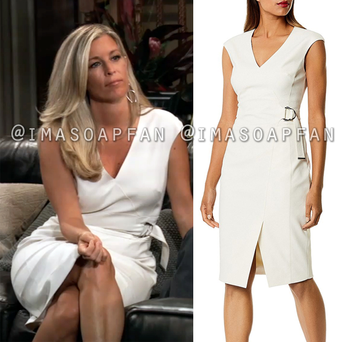 Carly Corinthoss Belted Off White V Neck Sheath Dress General