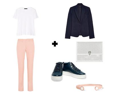 Пастельные розовые брюки с белой футболкой и синим жакетом