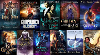 Collage of steampunk covers from 10 different authors