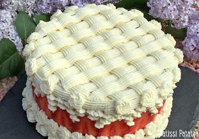 fraisier, crème vanille, ganache chocolat blanc, fraisier design, gâteau design, fraises, strawberries cake, patissi-patatta