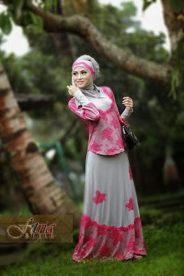 Model Baju Muslim Bahan Brokat Kombinasi Batik Terbaru