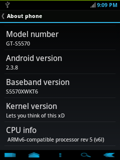 Android Version 2.3.8