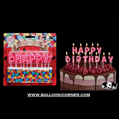 Lilin Ultah Motif HAPPY BIRTHDAY Polkadot Warna Pink