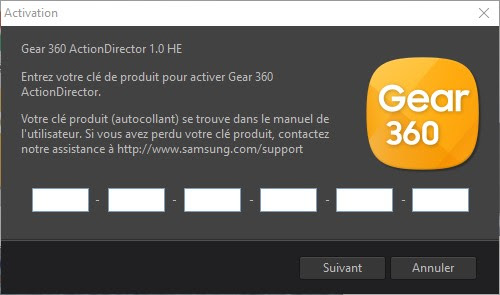 installation gear 360 logiciel action director windows 10