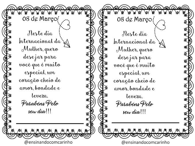 Cartão com pirulito de coração para o dia internacional de mulher