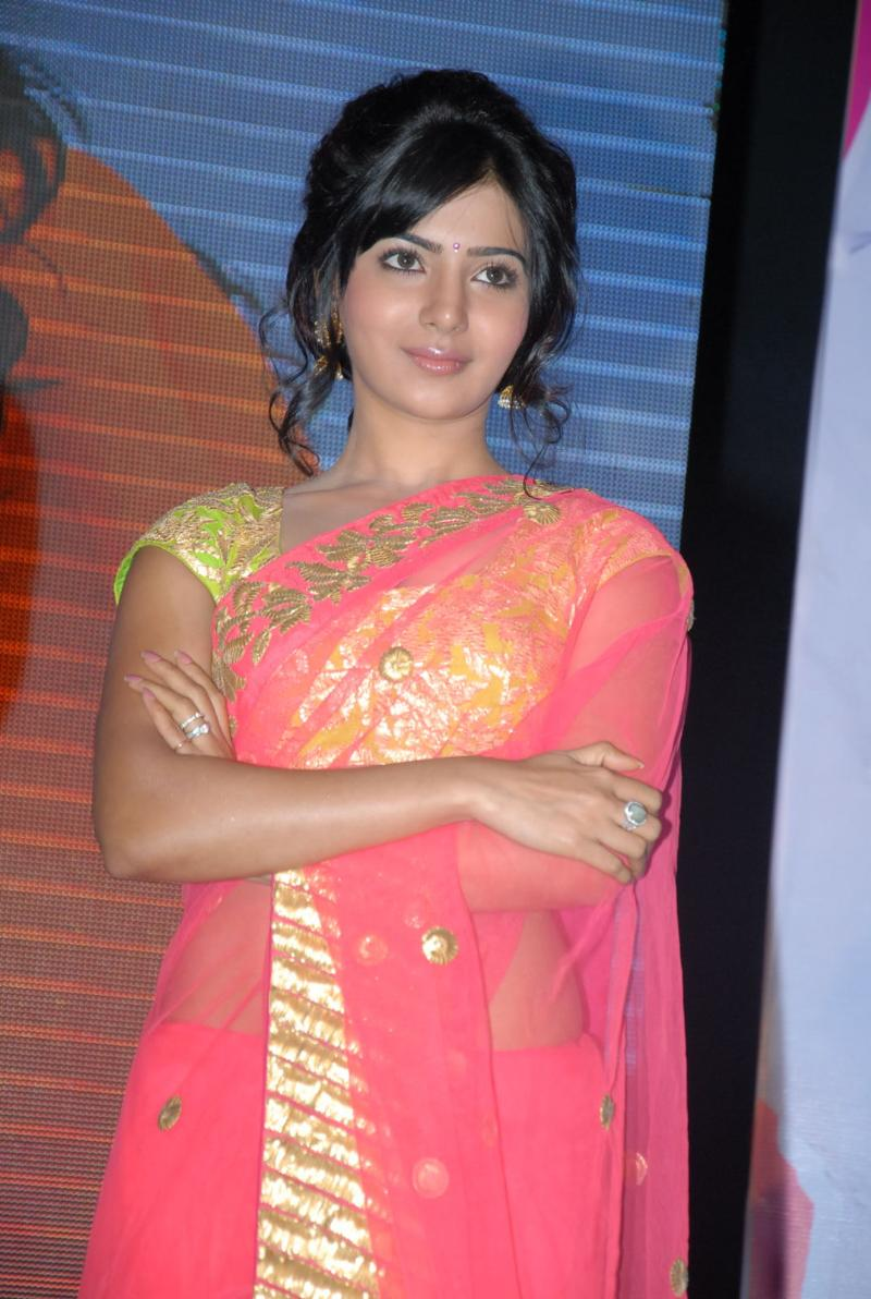 Samantha Hot In Navel Show Photos Pink Saree
