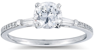 Petite tapered baguette pave diamond engagement ring.