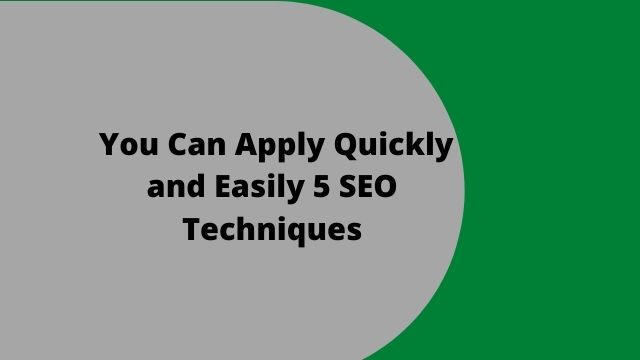 You Can Apply Quickly and Easily 5 SEO Techniques