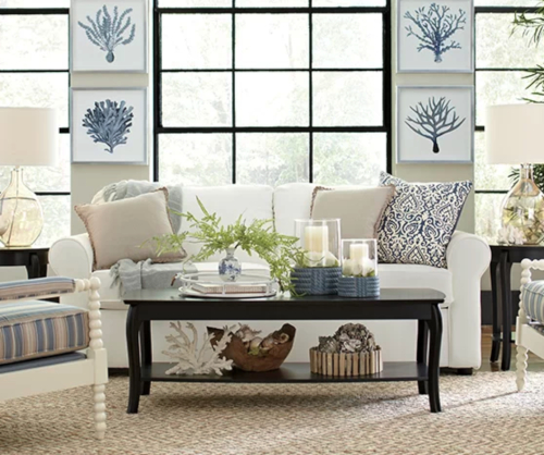 Elegant Blue White Coastal Living Room Design Idea