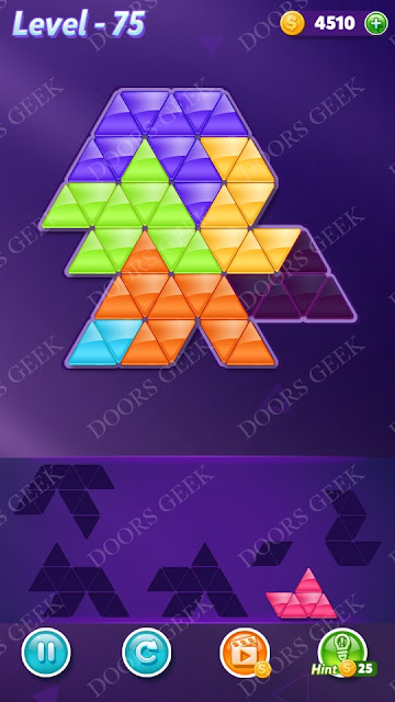 Block! Triangle Puzzle Intermediate Level 75 Solution, Cheats, Walkthrough for Android, iPhone, iPad and iPod