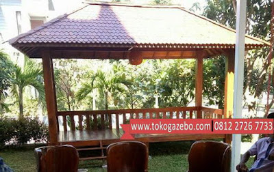 Gazebo Minimalis Kayu Jati