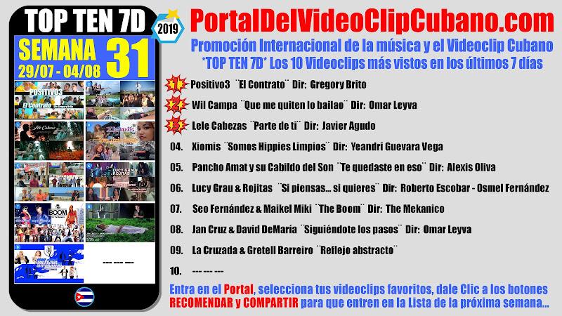 Artistas ganadores del * TOP TEN 7D * con los 10 Videoclips más vistos en la semana 31 (29/07 a 04/08 de 2019) en el Portal Del Vídeo Clip Cubano