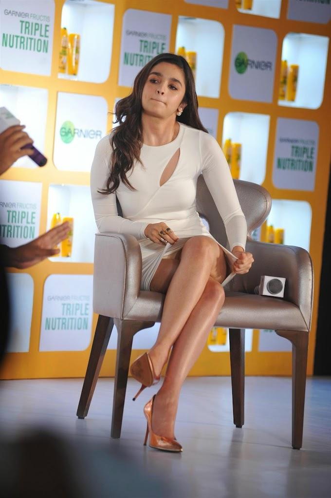 #AliaBhatt Sexy Upskirt Photos From Garnier Triple Nutrition Shampoo Launch Event In ITC Parel, Mumbai