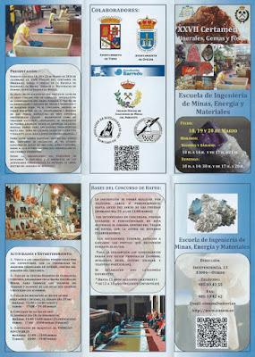 Tríptico certamen Minerales en Escuela de Minas de Oviedo