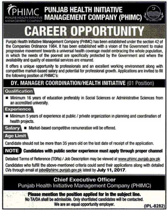 Manager Coordinators Jobs In Punjab Health Initiative Management Company 22 Jun 2017