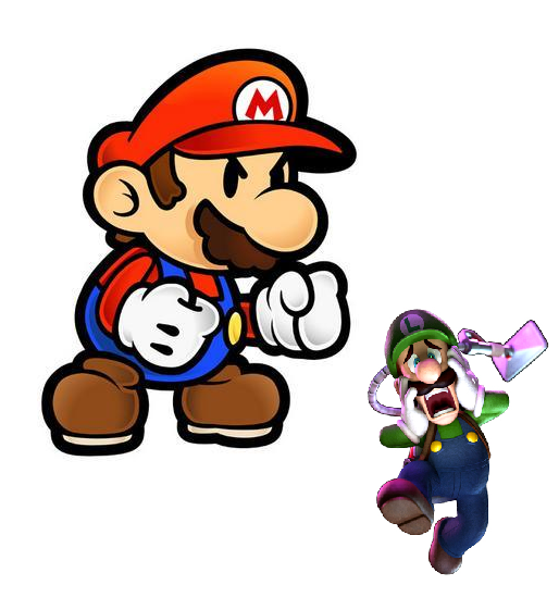 Mario frightens Luigi angry Paper mad