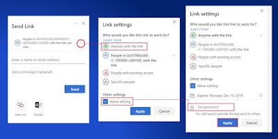 The first set of Send Link Dialog Boxes