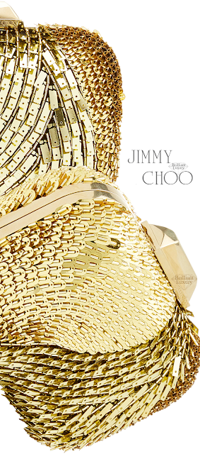 Jimmy Choo Cloud Golden Embellished Suede Clutch #brilliantluxury