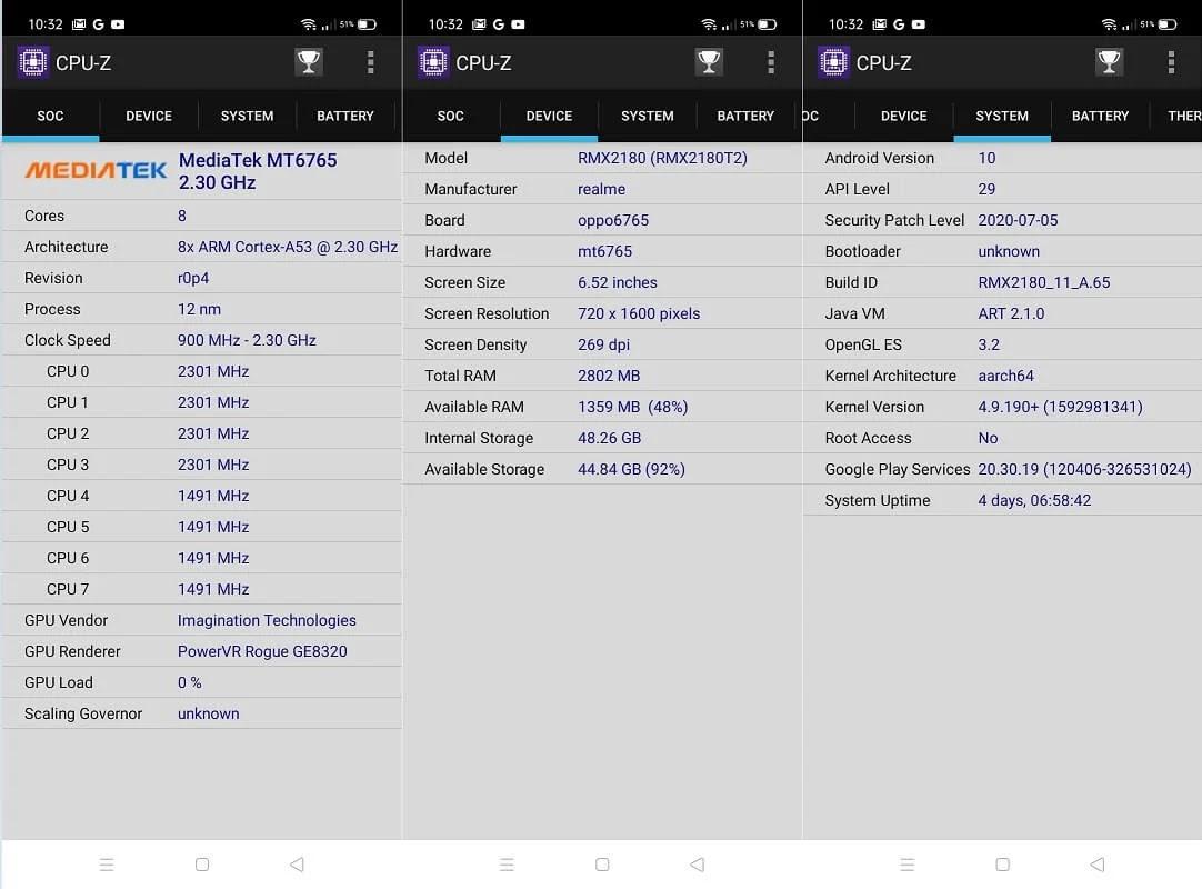 Realme C15 CPU-Z Info