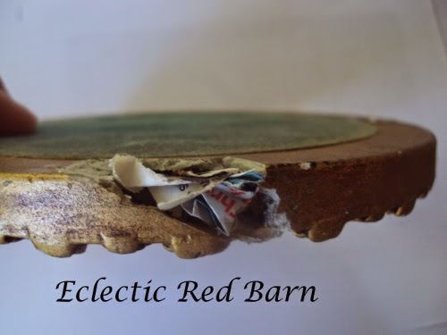 Eclectic Red Barn: Round frame with paper inserted into hole