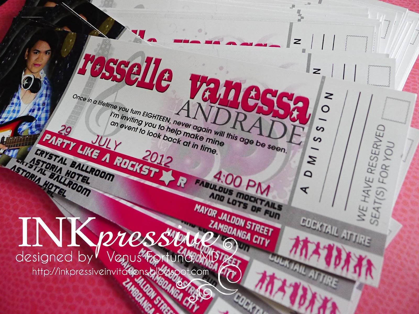 Concert Ticket Pop Star Inspired 18th Birthday Invitations  Concert Ticket Invitations