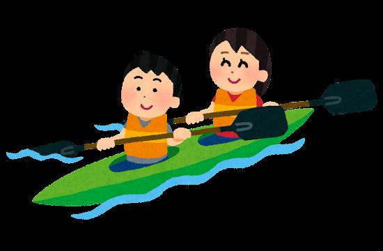 二人乗りカヌーのイラスト