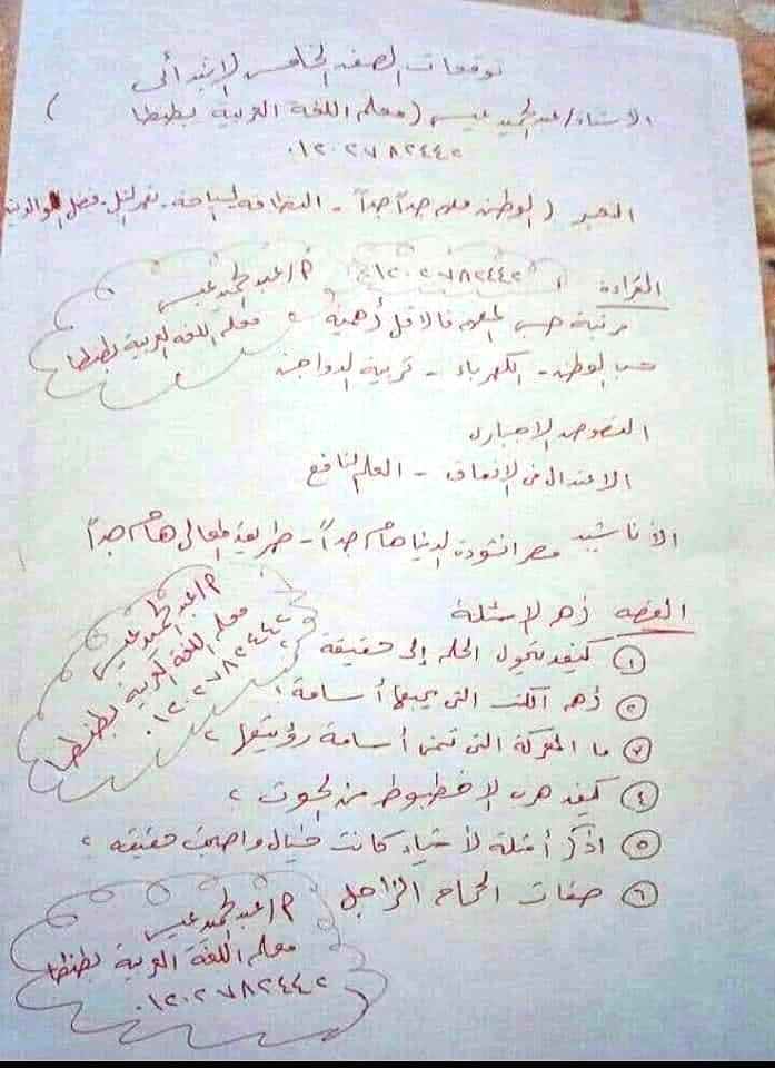 توقعات امتحان اللغة العربية الصف الرابع و الخامس و السادس الابتدائي ترم أول 2020 أ/ عبد الحميد عيسي 2