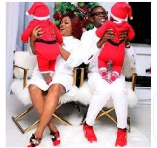 Checkout Funke Akindele Photos With Her Adorable Twins On Christmas Day