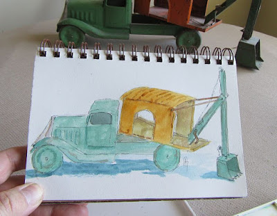 pen watercolor line wash sketch antique toy truck life
