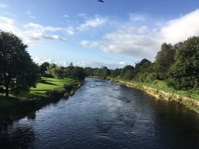 View of River Kent from Romney Bridge, Kendal, Cumbria