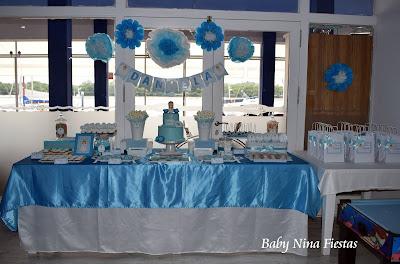 mesa dulce comunion celeste y blanco