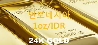 오늘 인도네시아 금 시세 : 24K 99.99 순금 1 온스 (1oz) 시세 실시간 그래프 (1oz/IDR 인도네시아 루피아)