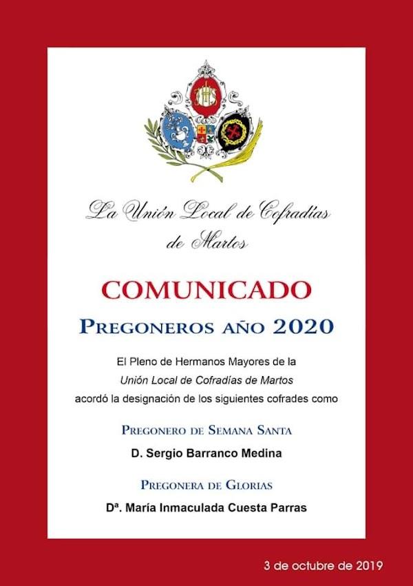 Martos conoce a sus pregoneros de Semana Santa y Glorias para 2020
