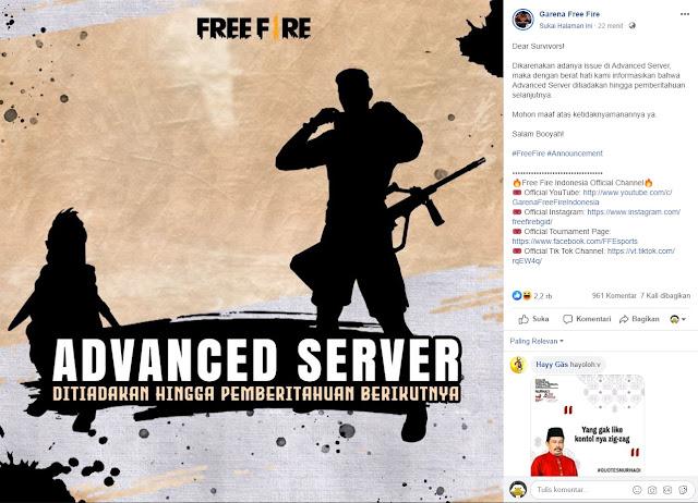 Advance Server Free Fire 66.8.0 Versi Juli 2020 Untuk Sementara Ditiadakan